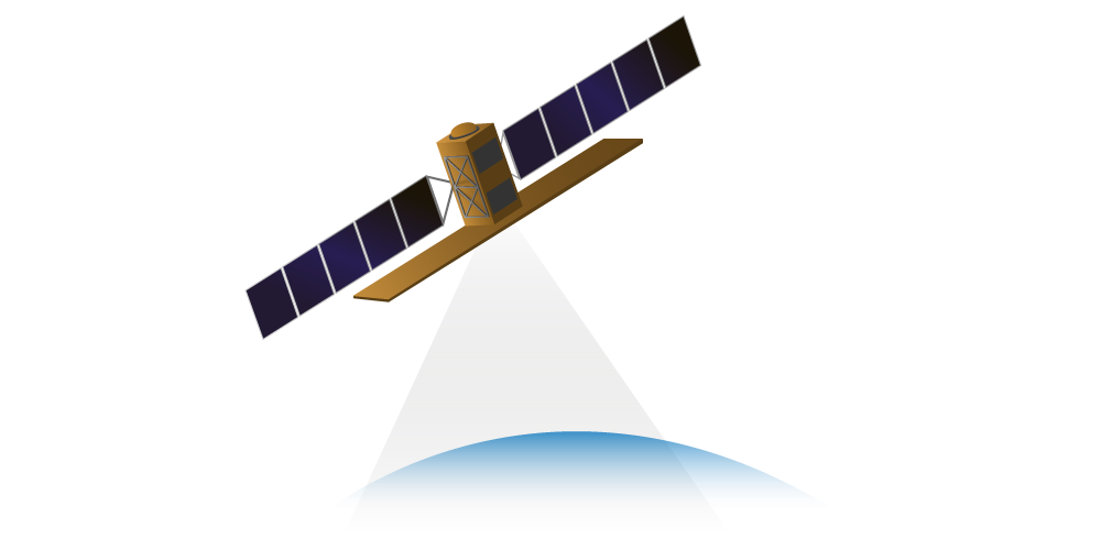 Satellite with light beam icon